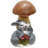 """Садовая фигура """"Гриб с влюбленными зайцами"""""""