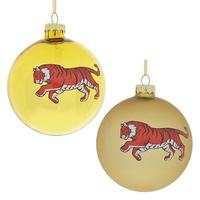 """Ёлочная игрушка шар """"Тигр"""" желтый"""