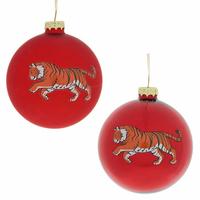 """Ёлочная игрушка шар """"Тигр"""" красный"""