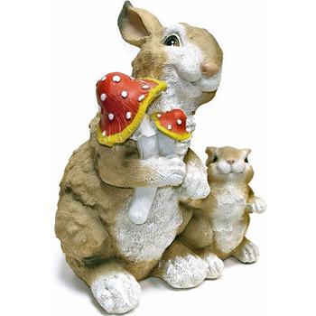 """Садовая фигура """"Зайцы с грибами"""""""