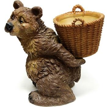 """Садовая фигура с кашпо """"Медведь с корзиной"""""""