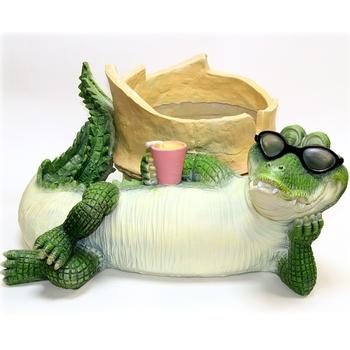 """Кашпо садовое """"Крокодил с бамбуком"""""""