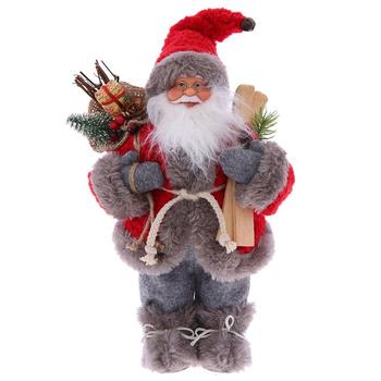 Дед Мороз с подарками и лыжами