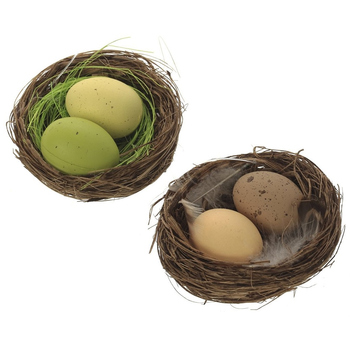 Гнездо с двумя пасхальными яйцами, 2 вида
