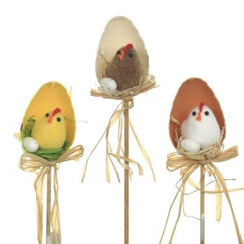 """Украшение """"Цыплёнок в яйце"""" на штекере, 3 вида"""