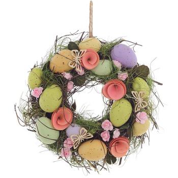 Венок с пасхальными яйцами и розами