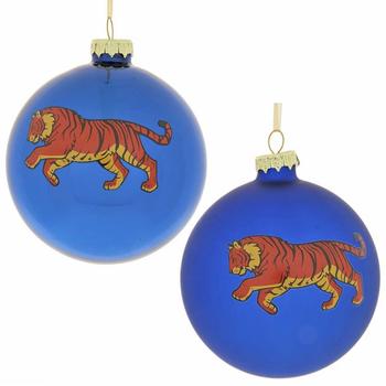 "Ёлочная игрушка ""Шар с тигром"" синий"
