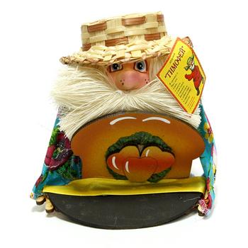 """Оберег """"Домовой Тимофей в соломенной шляпе с караваем"""""""