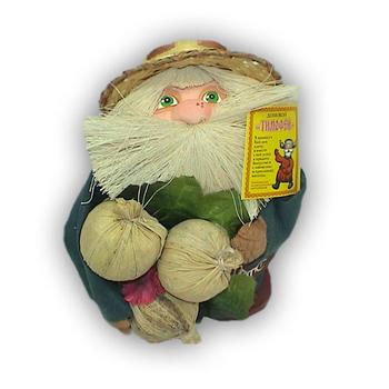"""Оберег """"Домовой Тимофей в соломенной шляпе с луком и подковой"""""""