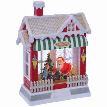 """Новогодняя композиция с подсветкой и эффектом вьюги """"Домик Деда Мороза"""""""