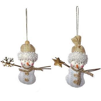 """Ёлочная игрушка """"Снеговик со снежинкой/со звездой"""""""