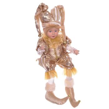 Клоун в золотистом костюме, 43 см