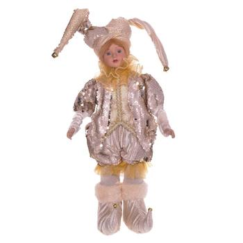Клоун в бежевом костюме, 45 см