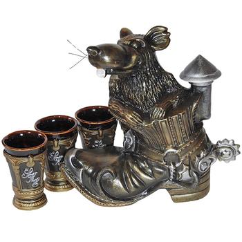 "Подарочный питейный набор ""Крыса в ботинке"" бронза"