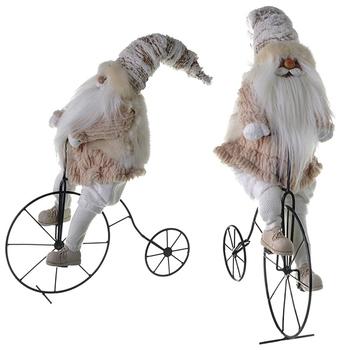 """Мягкая игрушка """"Санта на велосипеде"""" белый"""