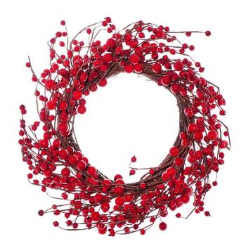 Новогодний венок с красными ягодами