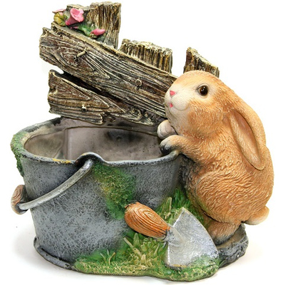 "Кашпо садовое ""Заяц с ведром у забора"""
