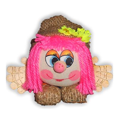 """Оберег """"Домовой Антошка в льняном колпаке с цветным париком"""""""