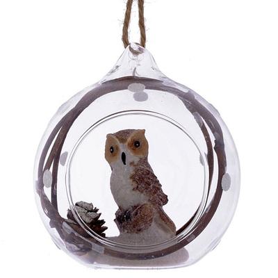 Ёлочная игрушка Сова в стеклянном шаре