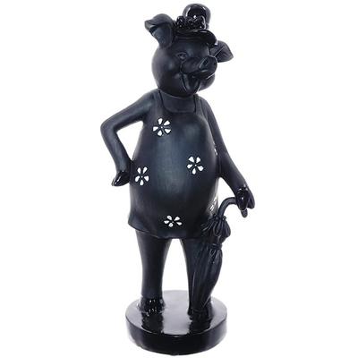 Статуэтка Свинка дама чёрно-белая