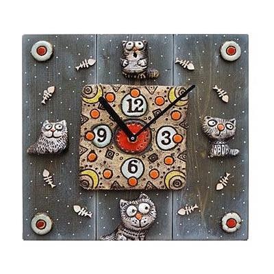 Часы из шамотной глины