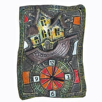 Часы настенные из шамота