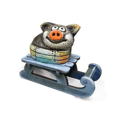 Свинка на санках (шамот)