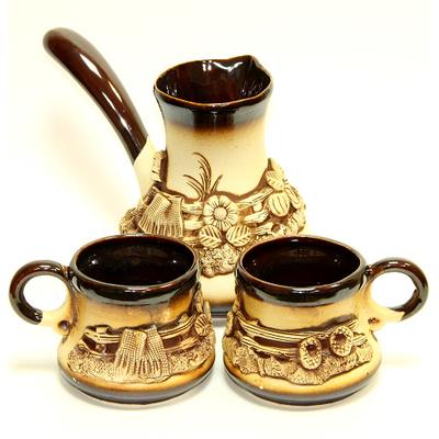 """Кофейный набор """"Турка + 2 чашки"""" большой"""